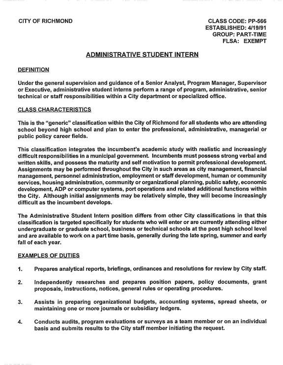 EMail Forum – General Intern Job Description